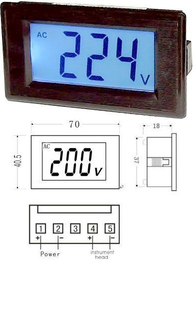 Panelový LCD MP 600V~ 70x40x40mm